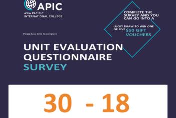 Unit Evaluation Questionnaire Survey - 30 Nov - 18 Dec